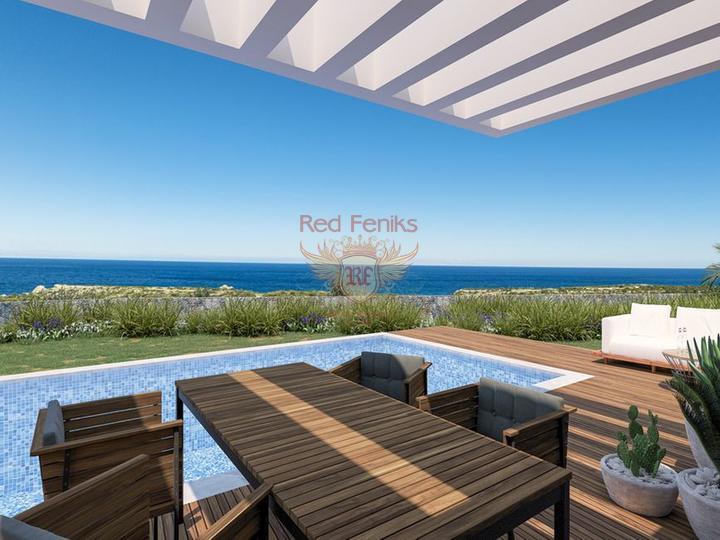 Виллы с 3 спальнями + общий бассейн + схема оплаты + пешая доступность до моря, купить дом в Кирения