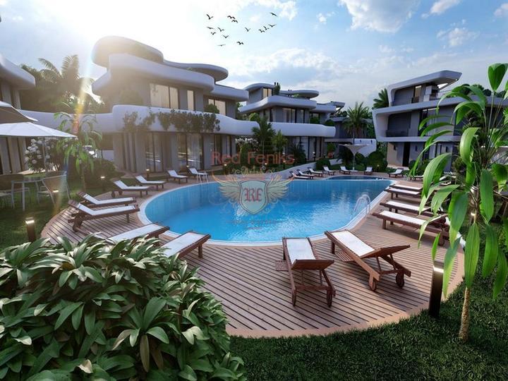 Виллы с 3 спальнями + общий бассейн + схема оплаты + пешая доступность до моря, купить виллу в Кирения