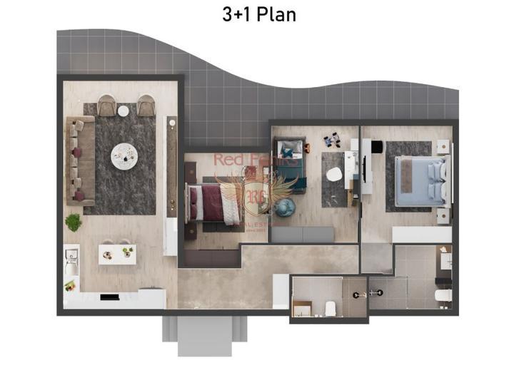 Элегантные апартаменты 2+1 + общий бассейн + пешая доступность до моря, Квартира в Кирения Северный Кипр