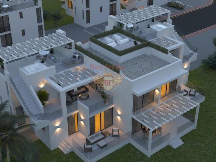 Современные апартаменты с 1 и 2 спальнями + 5 общих бассейнов + СПА центр + на первой линии моря, купить квартиру в Фамагуста