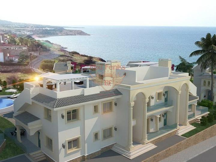 Элитные пентхаусы с 2 спальнями на первой линии моря с общим бассейном, купить квартиру в Кирения