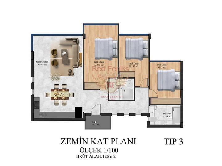 Квартиры с 1 спальней + 5 общих бассейнов + СПА центр + 600 м от песчаного пляжа + схема оплаты, Квартира в Кирения Северный Кипр