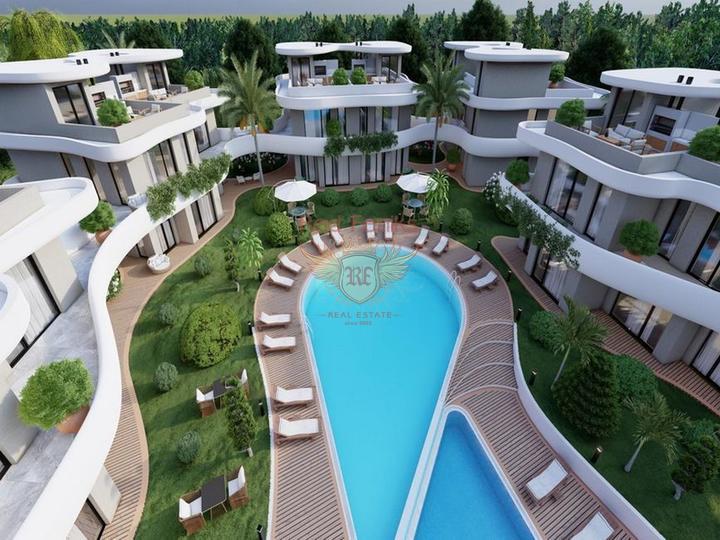 Квартиры с 1 спальней + 5 общих бассейнов + СПА центр + 600 м от песчаного пляжа + схема оплаты, купить квартиру в Кирения
