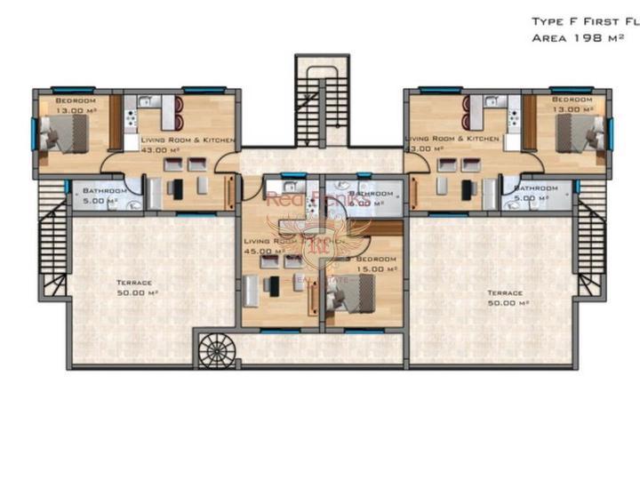 Современные апартаменты с 1 и 2 спальнями + 5 общих бассейнов + СПА центр + на первой линии моря, Квартира в Фамагуста Северный Кипр