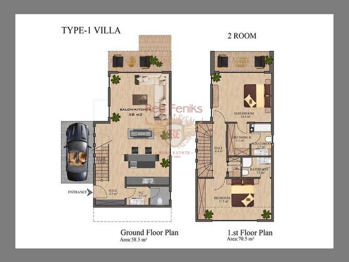Новая вилла с 3 спальнями + недалеко от Британского колледжа Некат + вид на море и горы, купить виллу в Кирения