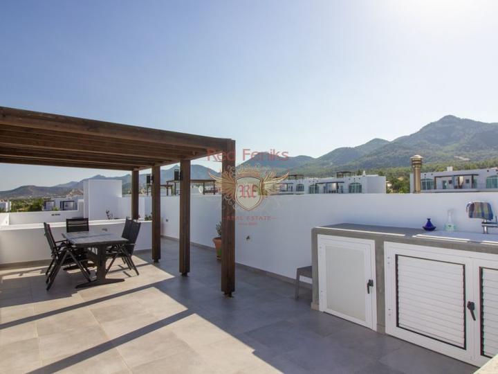 Пентхаус с 1 спальней на берегу моря + бытовая техника + общий бассейн + частный пляж, купить квартиру в Кирения