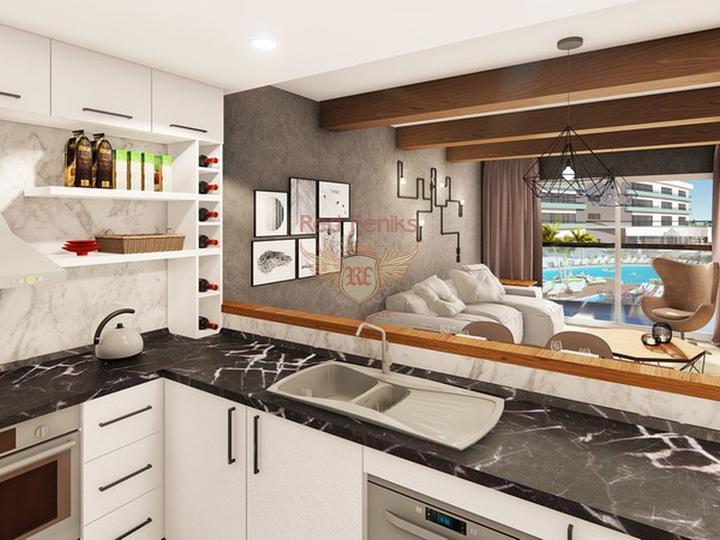 Современные апартаменты 1+1 всего в 550 м от прекрасного песчаного пляжа, купить квартиру в Фамагуста