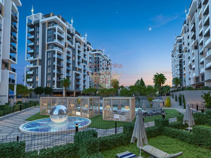 Продажа квартир в Алании открыта в элитном жилом комплексе Серенети в Махмутларе.