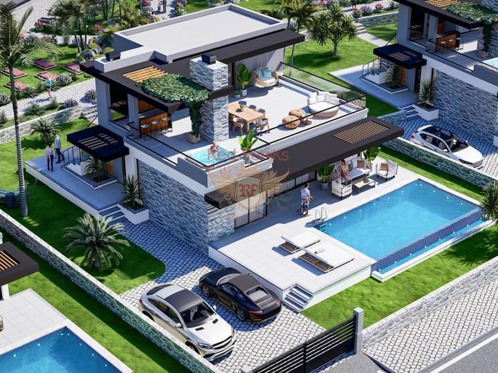 4 + 1 Villen im Hisaronu Center - Fethiye zu verkaufen, Haus mit Meerblick zum Verkauf in Turkey, Haus in Turkey kaufen