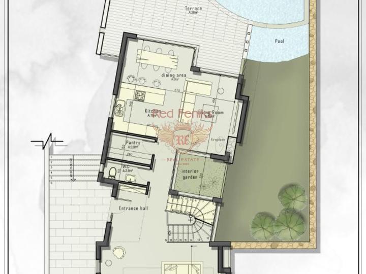 3-х спальные виллы + строительство + центральное отопление + кондиционер + расположение на берегу моря, Дом в Кирения Северный Кипр
