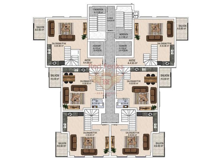 Квартиры 3+1. 165 м2 в Алании. Каргыджак, Квартира в Алания Турция