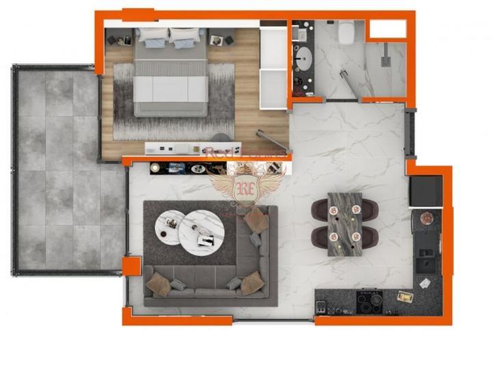 Новые квартиры 1+1 в элитном комплексе в Алании, Квартира в Алания Турция