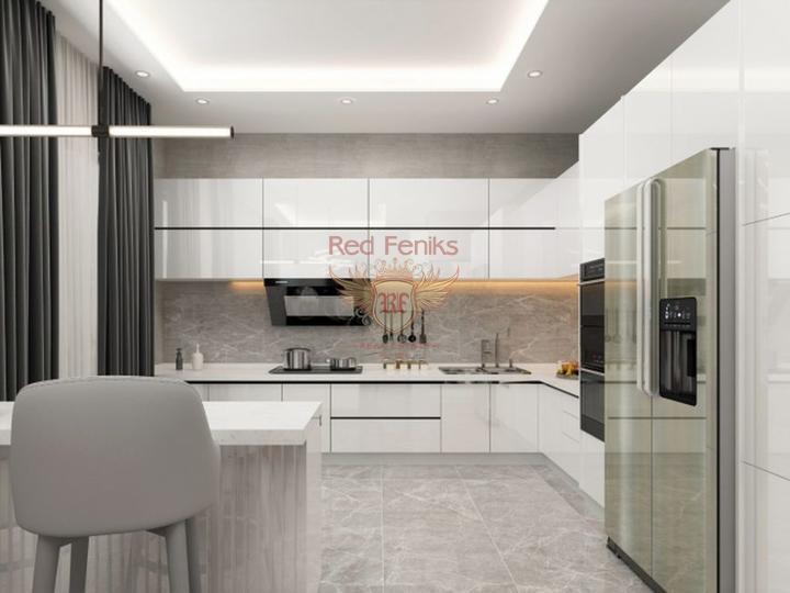 4 этажные виллы с собственным лифтом 6+1 в 4,5 км от пляжа в Коньяалты, купить виллу в Анталия